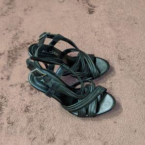 Aldo Strappy Black Stiletto Sandal Size 5